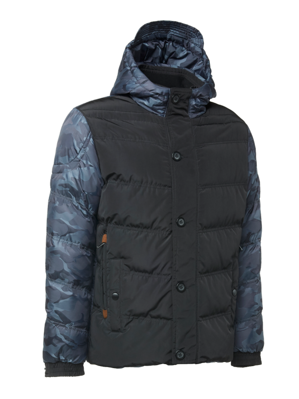 CONTRAST PRINTED CAMO PANEL PADDED JACKET