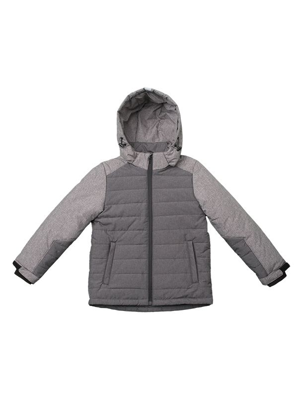 BOY GREY CONTRAST PANEL PADDED JACKET