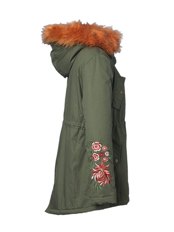 EMBOIDERY PADDED JACKET WITH FAUX FUR HOOD