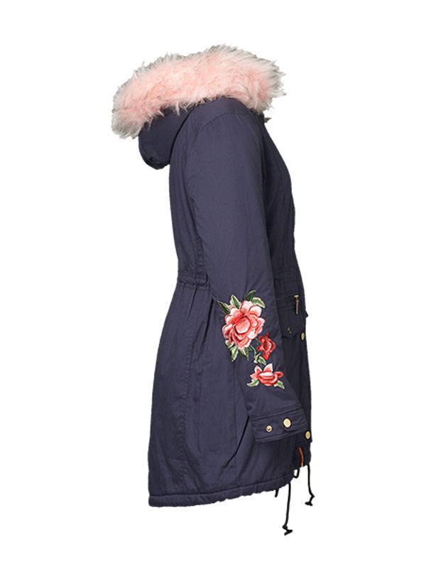 EMBOIDERY PADDED JACKET WITH FAUX HOOD