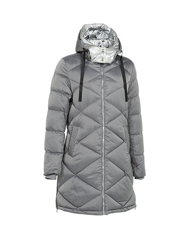 PUFFER  JACKET WITH METALLIC FOIL HOOD