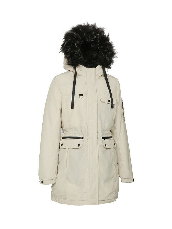 OUTDOOR PUFFER JACKET WITH BIG FAUX FUR HOOD