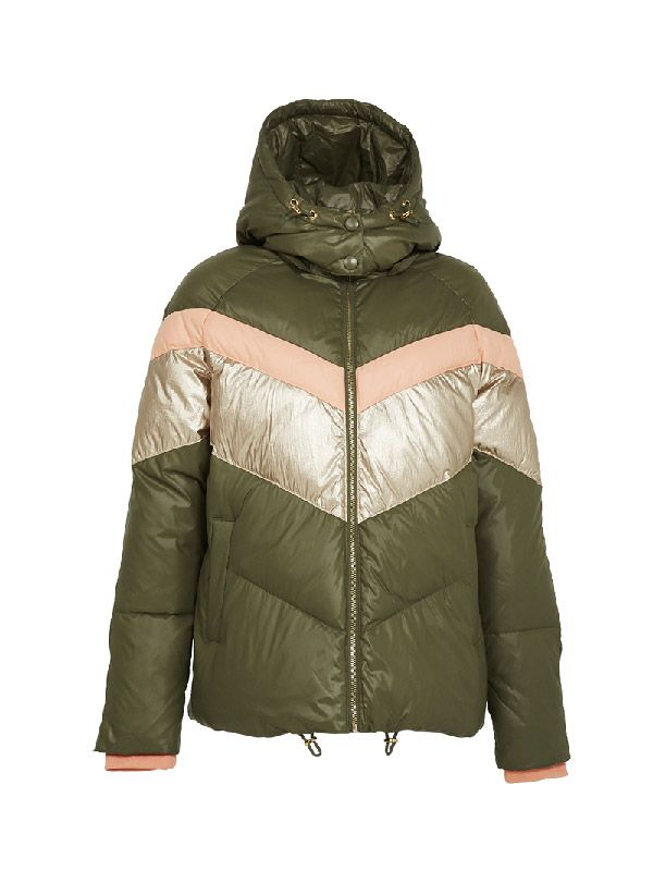 TRENDY COLOUR BLOCK PUFFER JACKET