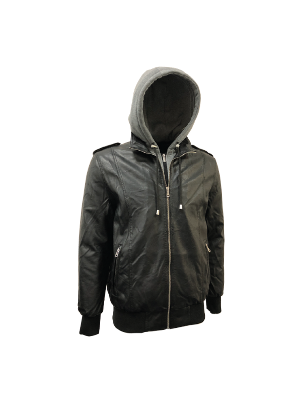 DOUBLE FRONT HOODIE PU LEATHER PADDED JACKET