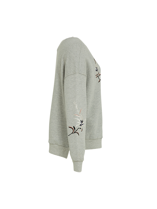 ROUND NECK FLEECE WITH EMBROIDERY