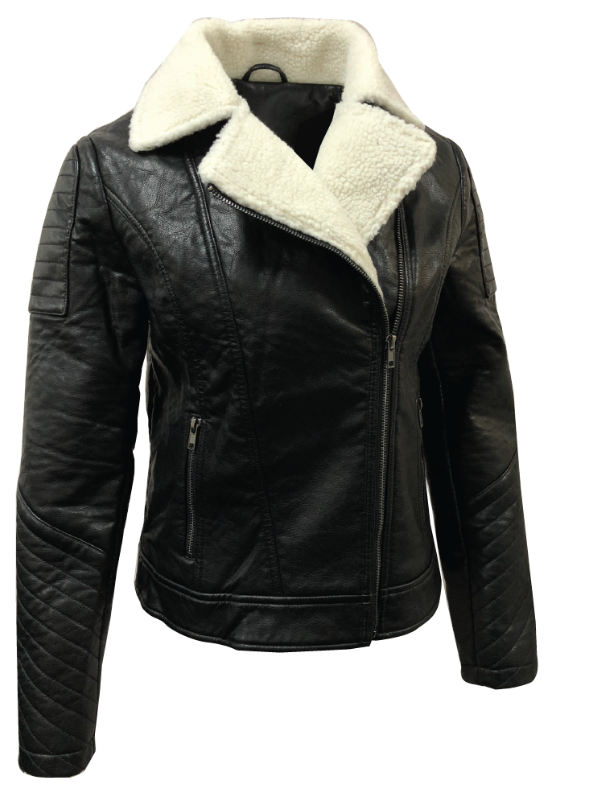 PU LEATHER JACKET WITH TAILORED COLLAR