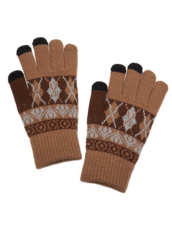 TOUCH SCREEN ARGYLE PRINT KNITGLOVES