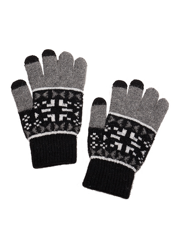 TOUCH SCREEN PATTERN KNIT GLOVES