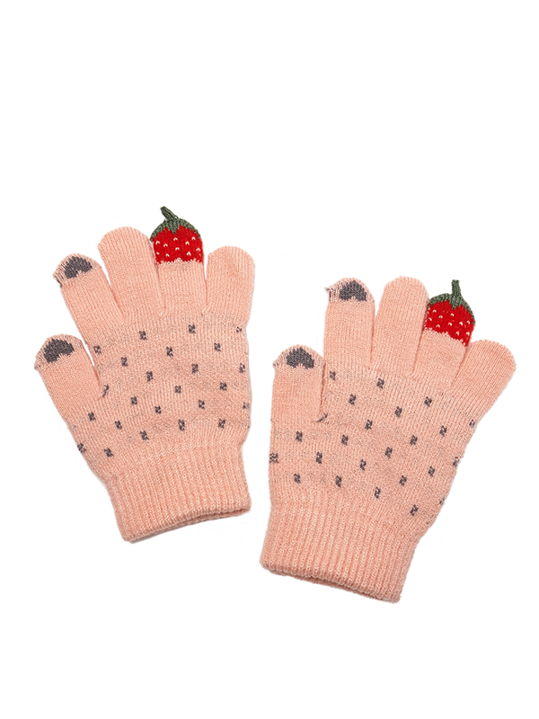GIRL TOUCH SCREEN STRAWBERRY HEART KNIT GLOVES