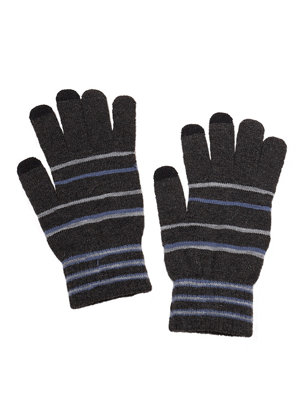 TOUCH SCREEN STRIPES KNIT GLOVES