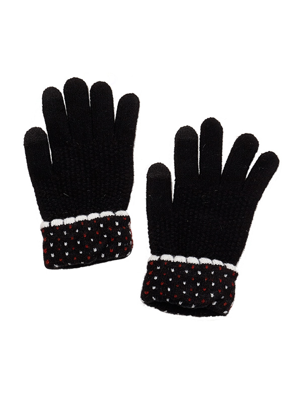 TOUCH SCREEN POLKA DOT KNIT GLOVES WITH FOLDED CUFF