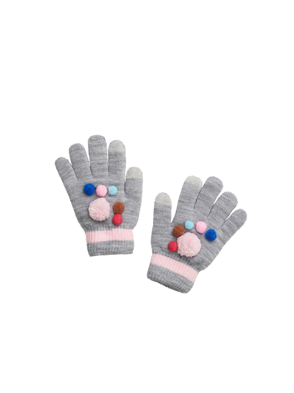 GIRL POM POM KNITTED GLOVES WITH FLEECE LINING