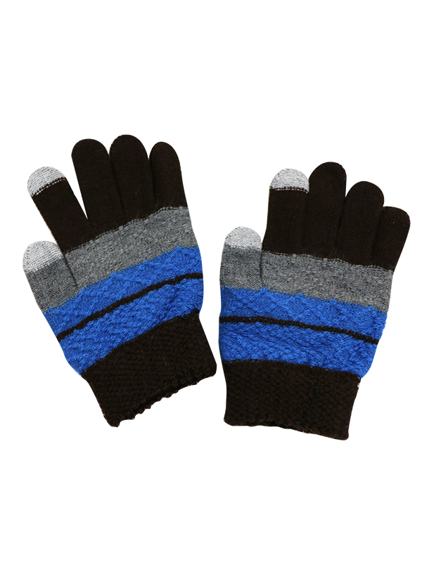 BOY TOUCH SCREEN COLOR BLOCK KNIT GLOVES