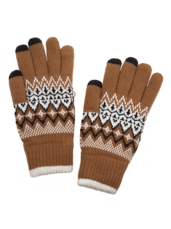 TOUCH SCREEN KNIT GLOVES WITH FLEECE LININING