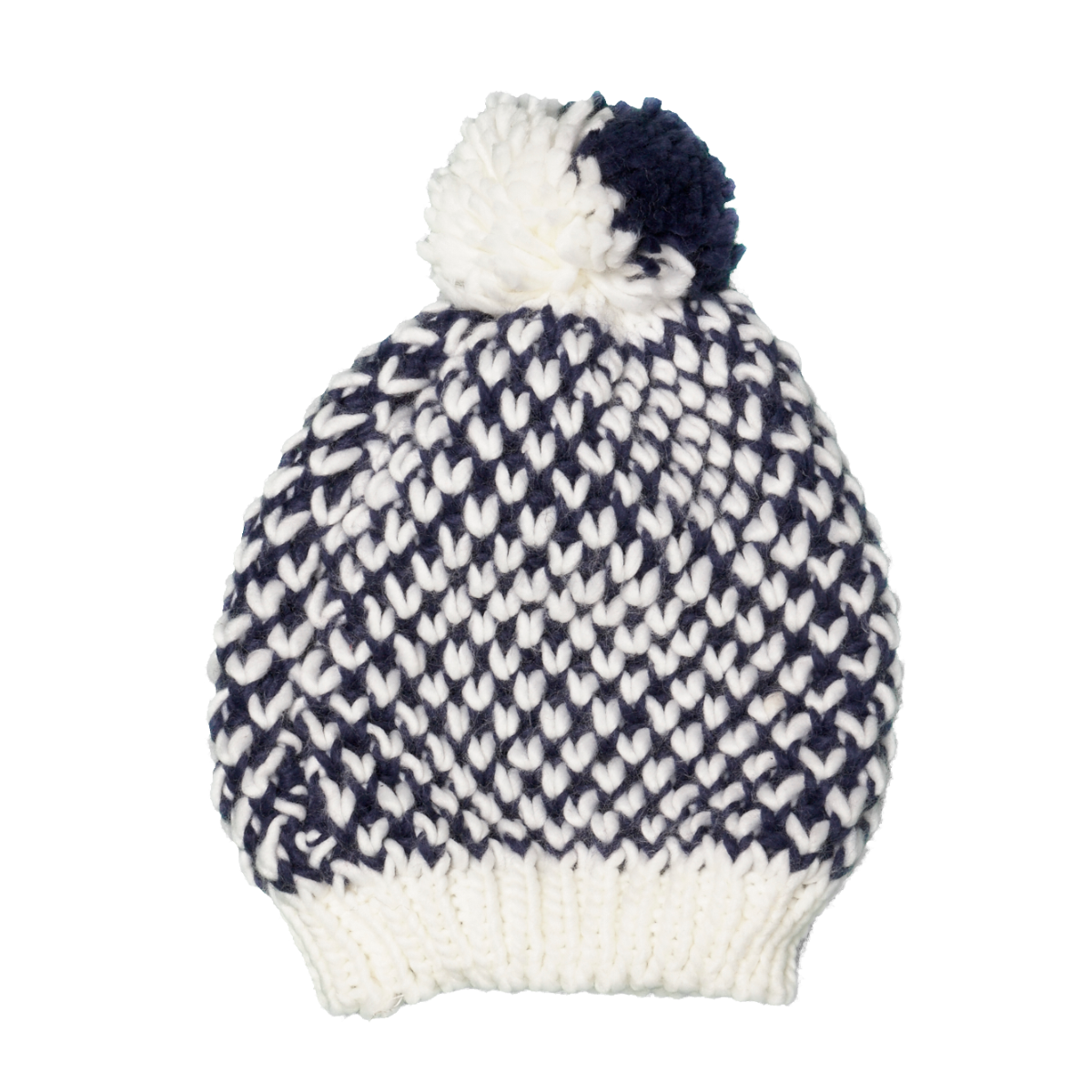 WOMEN CONTRAST POMPOM KNITTED HAT