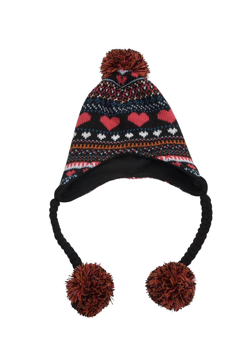 GIRLS'S PATTERN STRING KNITTED HAT